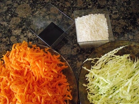 zanahoria,repollo,salsa de soja y arroz
