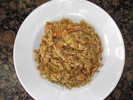 receta sencilla de arroz con verduras y salsa de soja