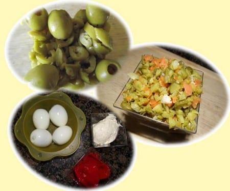 variantes,aceitunas,huevo,piqueillo,mayonesa son los ingredientes para la receta de la ensaladilla de la abuela