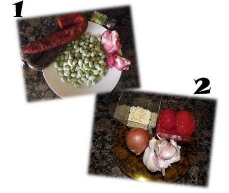 ingredientes habas y sofrito, cebolla, ajo, habas, vino, tomates,menta,chorizo,butifarra y costillas