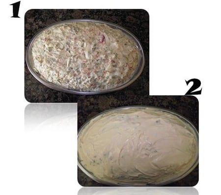 montaje de la receta en una bandeja, con y sin mayonesa