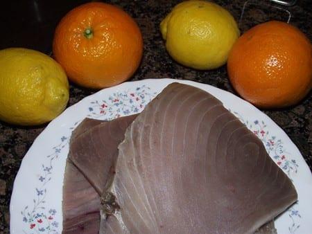 atún y cítricos para la primera parte