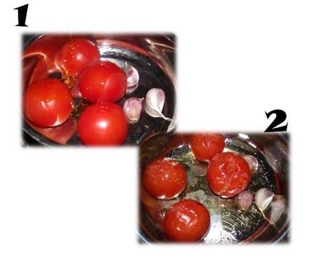 tomates y ajos, con aceite y sal listos para hornear