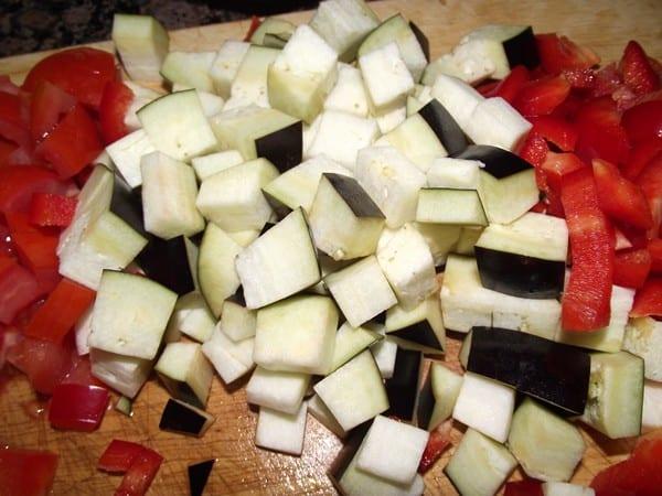 verduras cortadas a dados