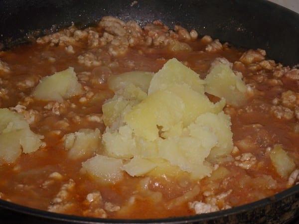 carne picada con patata para el relleno