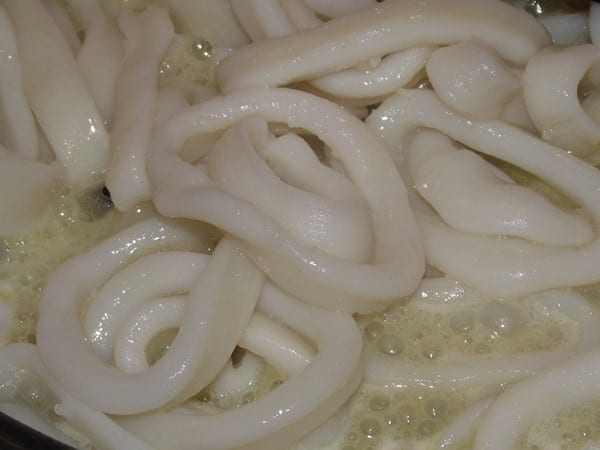 anillas de calamar haciendose