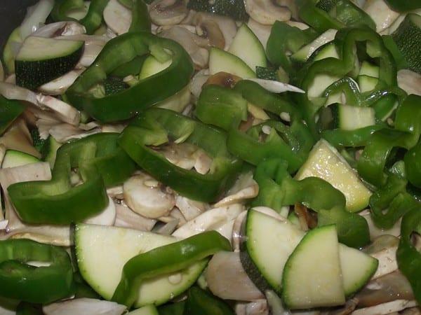 verduras y setas para la receta