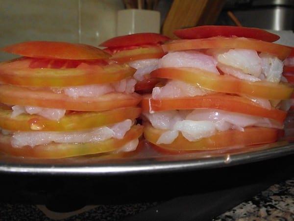 Receta Finalizada de Timbal de Tomate y Bacalao