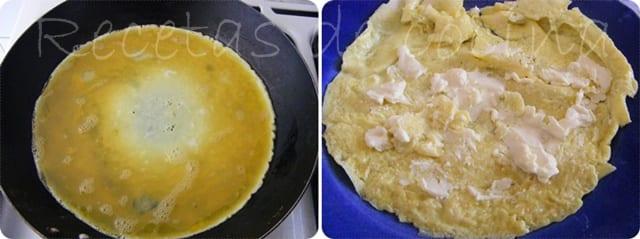 Rollitos de tortilla francesa rellena de queso
