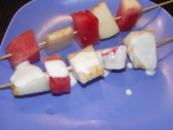 receta finalizada de pincho de melon y sandia