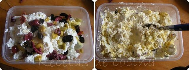 Huevos rellenos de queso fresco y aceitunas