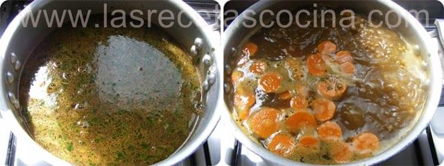 Lentejas con zanahorias y aceitunas rojas