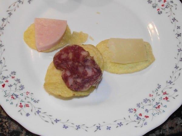 receta finalizada de canapes de patatas chips