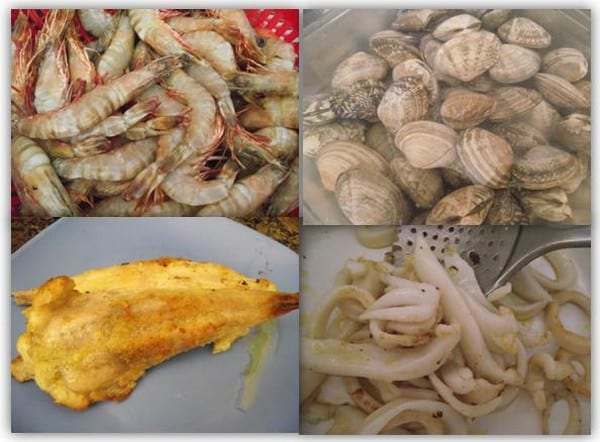 marisco y pescado para la receta