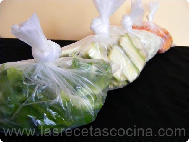 Congelados caseros, bolsitas de verduras