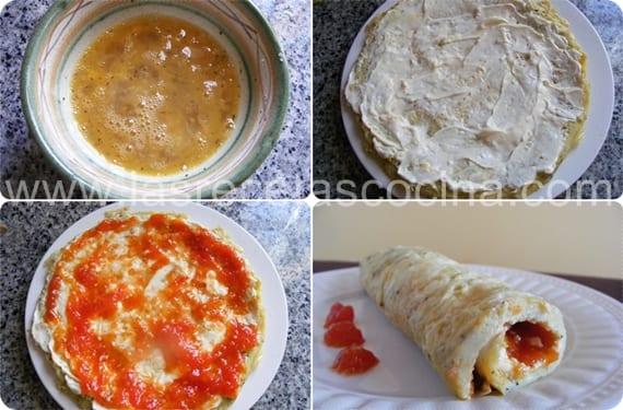 Rollito de tortilla rellena de queso y mermelada de tomate (2)