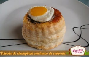 Volován de champiñón con huevo de codorniz