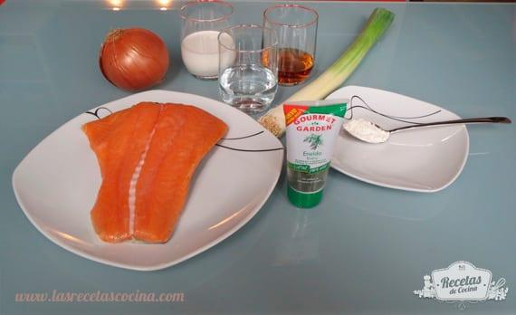 Ingredientes salmón en salsa de enheldo