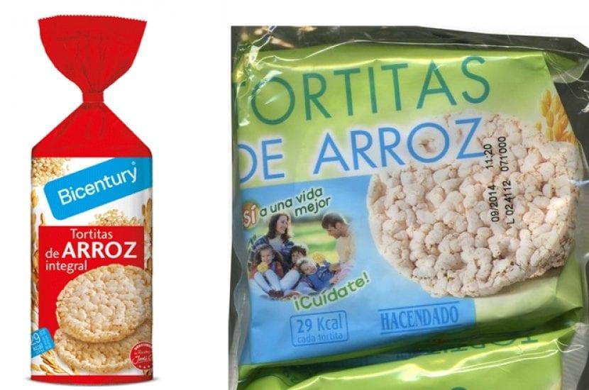 Tortitas de arroz bicentury y hacendado