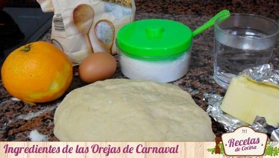Ingredientes de las Orejas de Carnaval