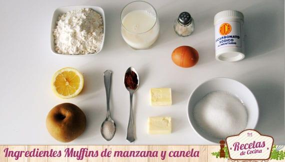Ingredientes Muffins de manzana y canela