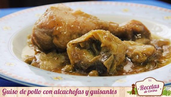 Guiso de pollo con alcachofas y guisantes