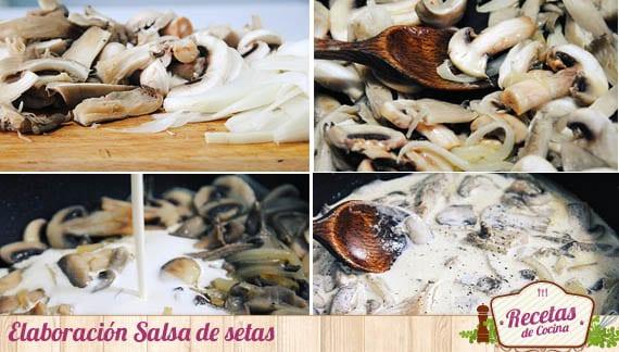 Elaboración salsa de setas