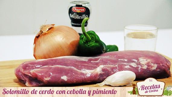 Ingredientes solomillo de cerdo con cabolla y pimiento