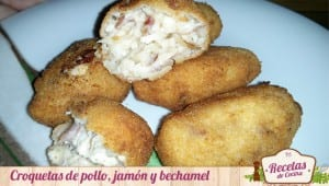 Croquetas de pollo, jamón y bechamel
