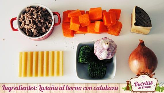 Ingredientes lasaña con calabaza