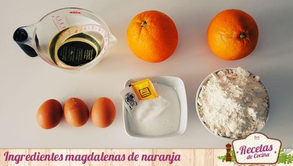 Ingredientes magdalenas de naranja