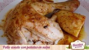 Pollo asado con patatas en salsa