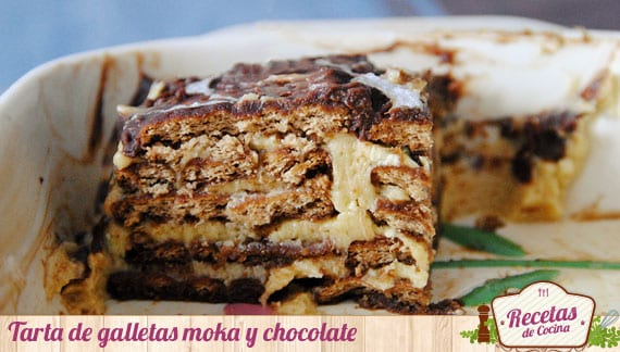 Tarta de galletas de moka y chocolate