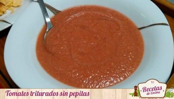Tomates triturados para el salmorejo