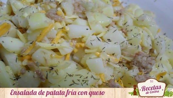 Ensalada fría de patata,atún y queso