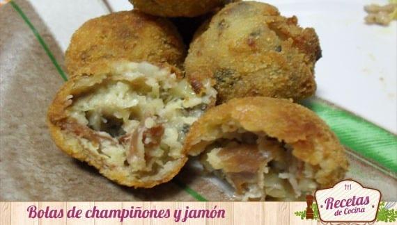 Bolas de champiñones y jamón