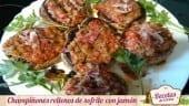 Champiñones rellenos con jamón