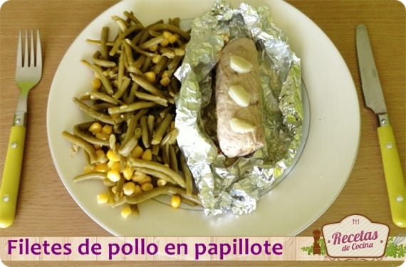 Filetes de pollo en papillote