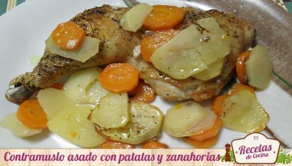 Contramuslo al horno con patatas y zanahorias