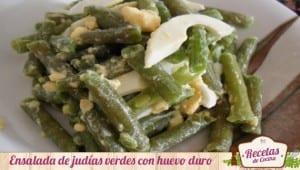 Ensalada templada de judías verdes con huevo
