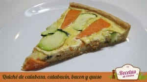 Quiché de calabaza, calabacin, bacon y queso