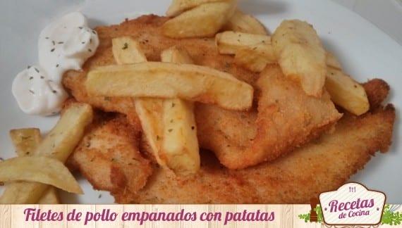 Filetes empanados con patatas