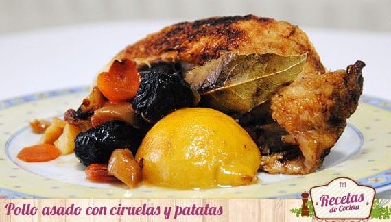 Pollo asado con ciruelas y patatas