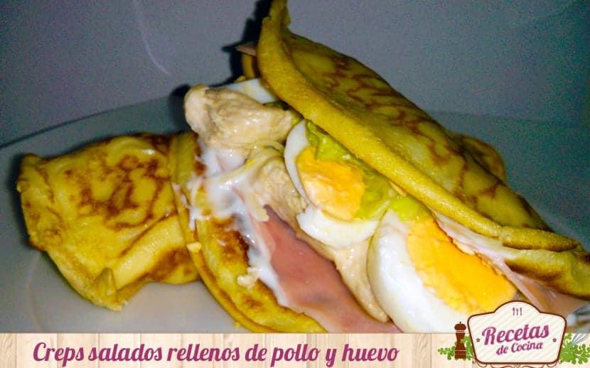 Creps salados rellenos de pollo y huevo