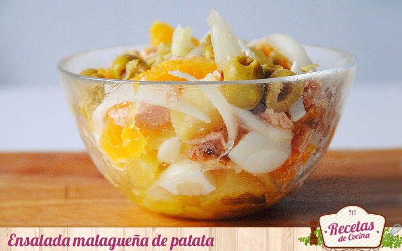 Ensalada malagueña, con patatas, naranja y atuún