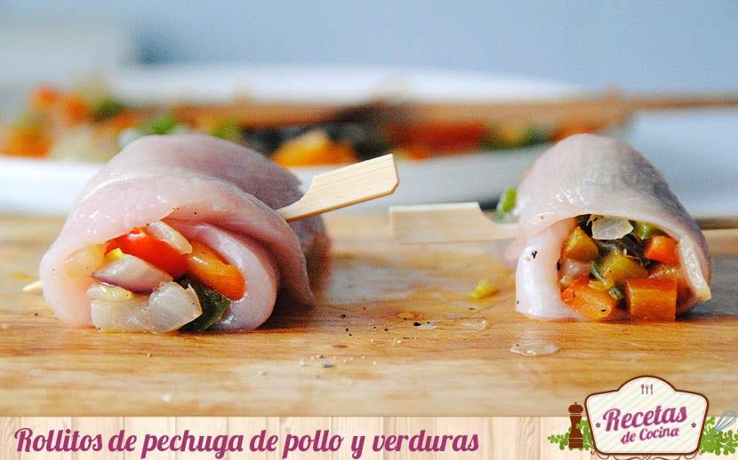 Rollitos de pechuga de pollo y verduras