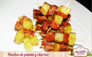 Pinchos de patatas y chorizo