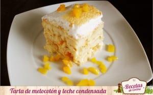Tarta de melocotón y leche condensada
