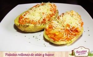 Patatas rellenas de atún y huevo