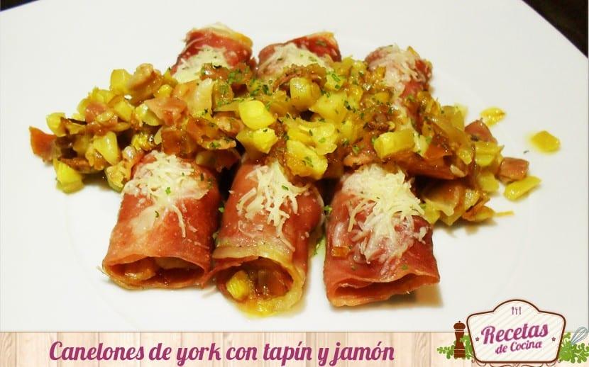 Canelones de york rellenos de tapín y jamón